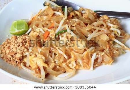 Thai-food Pad thai is noodles with pork