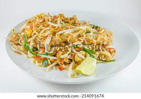Thai food Pad thai , Stir fry noodles - stock photo