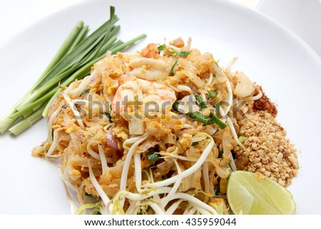 Thai food Pad thai , Stir fry noodles with shrimp. Pad Thai, Thai Food, top view