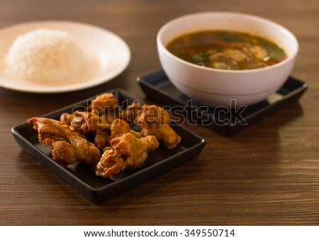 Thai food ready serve on wood table.  - stock photo