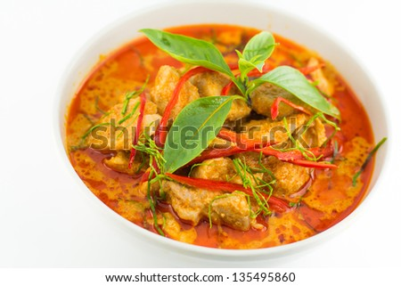 Thai Food Red Curry Panang - stock photo