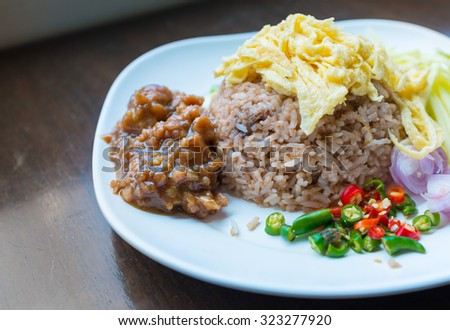 Thai food, rice Mixed with Shrimp paste