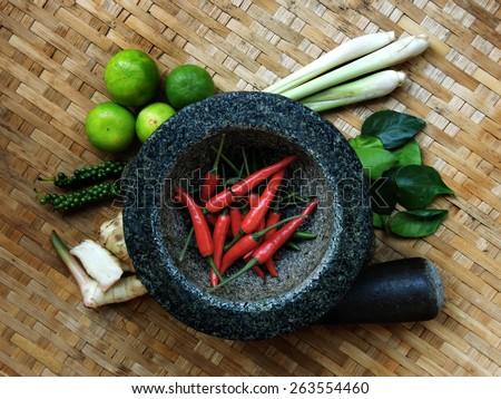 Thai food seasoning ingredients           - stock photo