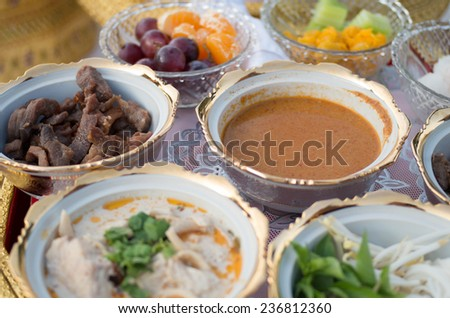 Thai food set , food with fruit thai style set on table with beautiful bowl and dish