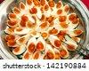 Thai food, slices boiled salted egg - stock photo