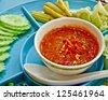 Thai food, spicy crab egg paste with boiled vegetable - stock photo