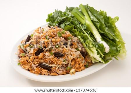 Thai Food Spicy Crispy Rice Salad with Thai Sausage - stock photo