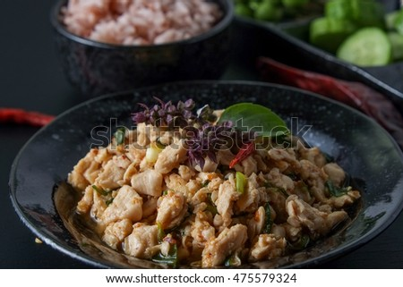 thai food spicy minced chicken
