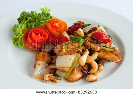 Thai food,stir fired chicken with cashew nuts a famous thai dish.