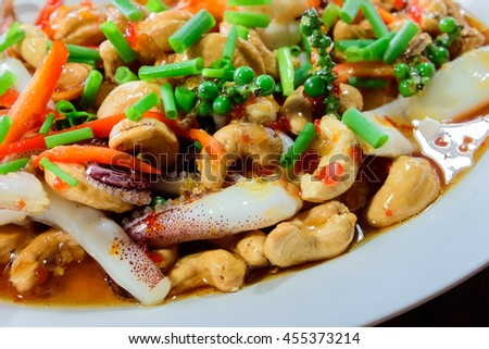 Thai food,stir fired  ink with cashew nuts a famous thai dish