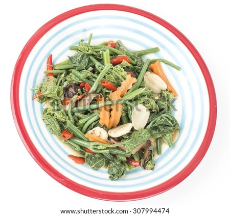 Thai  food.  Stir fried young chayote leaf with garlic  - stock photo