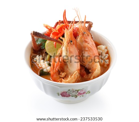 Thai Food Tom Yum Goong - stock photo
