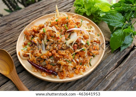 Thai Food (Yam Naem Khao Thot) Recipe Spicy original