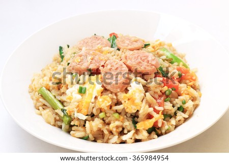 Thai Foods - Fried Rice with Vegetables and Sour pork