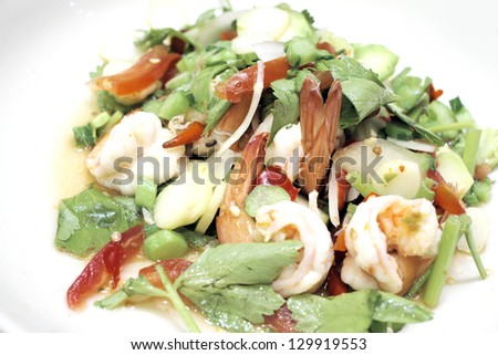 Thai Fresh vegetable salad with shrimp.