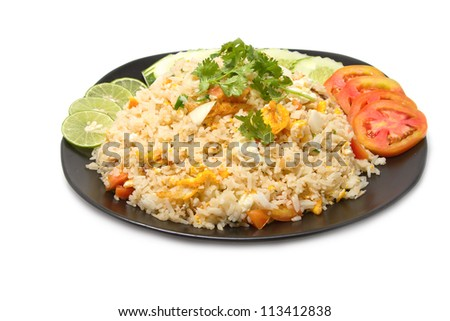 Thai fried rice with crab meat ,thai food favorite on white background