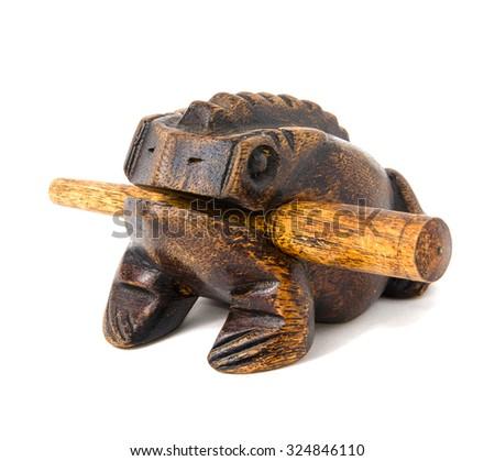 thai frog souvenir made of wood - stock photo
