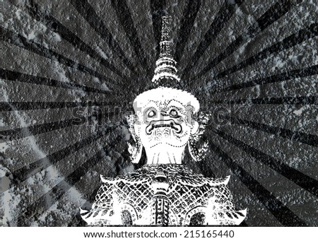 thai giant art on Cement wall Background texture