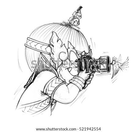 Thai Giant cartoon is photographer he go to travel in forest have find pretty small bird to flying front of a camera very nearly and take a photo, Character design pencil sketch on white background.