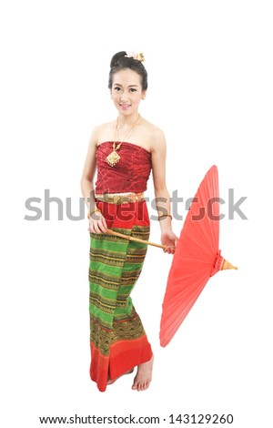 Thai girl dressing with traditional style, Isolated on white