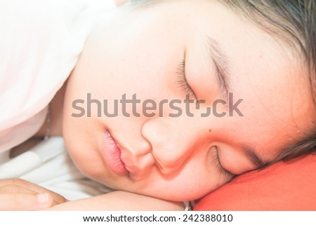 Thai girl is sleeping, Thailand.