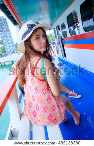 Thai girl on The ship at the sea,portrait outdoor Thai girl beautiful on ship at the sea
