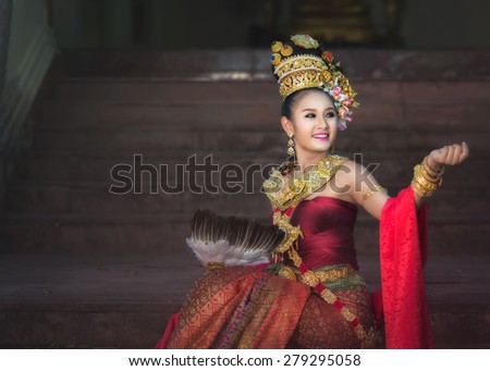 Thai girl with northern style dress in temple, Phayao, Thailand