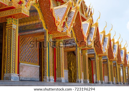 Thai Golden architecture style. Glass golden temple.