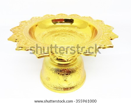 Thai golden tray on white background.