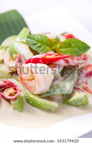 Thai green curry with prawn and avocado.