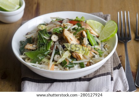 Thai green curry with rice in a bowl - stock photo