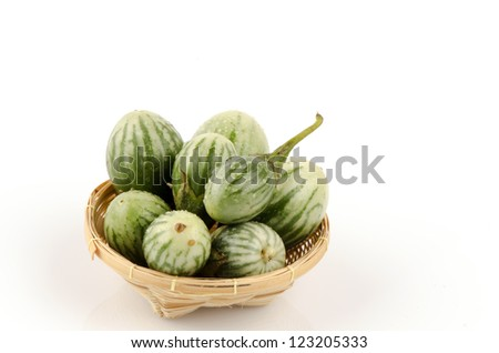 Thai Green Eggplant on white background