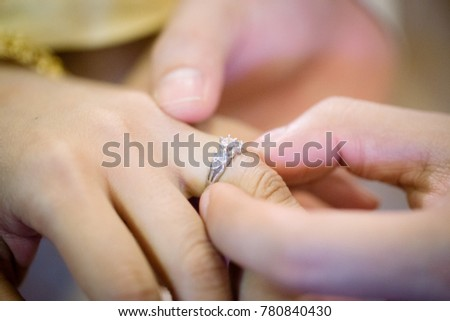 Thai Groom Wearing Wedding Ring His Stock Photo Royalty Free