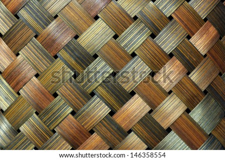 Thai handcraft of bamboo weave pattern for background use - stock photo
