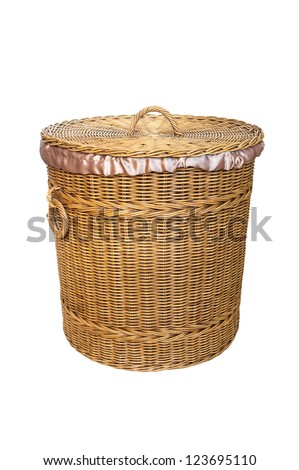 Thai handmade Basket wicker with silk isolated on white