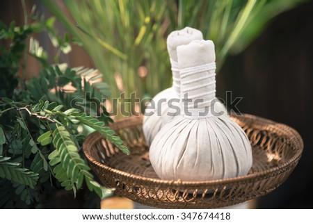 Thai Herbal Ball Hot Compress massage  add color retro style - stock photo