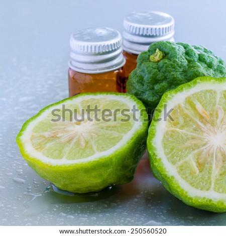 Thai herbal ingredient spas Kaffir lime . - A common ingredient in shampoo.  - stock photo