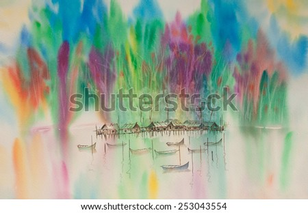 Thai house in countryside and beside river with colorful forest ; Watercolor painting - stock photo