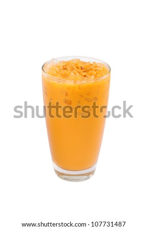 Thai iced milk tea, isolated on white