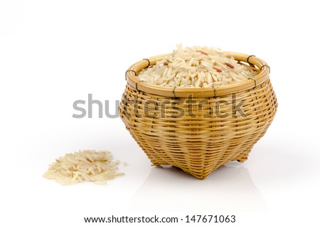 Thai jasmine GA BA rice (Germinated Brown Rice) in bamboo basket on a white background.