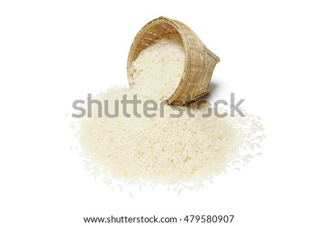 Thai jasmine rice in the basket weave isolate on white background