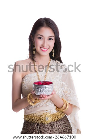 Thai lady with Songkran festival (Thai new year holiday) concept in whith isolated background - stock photo