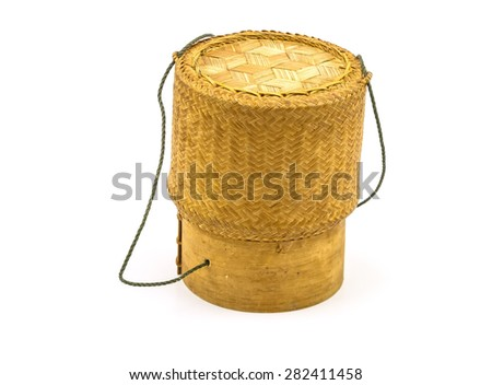 Thai -Laos bamboo sticky rice container on white background