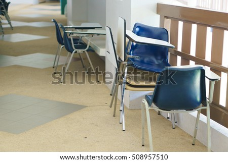 Thai lecture chairs and tables in front of classroom