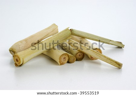 thai lemon grass and a white background