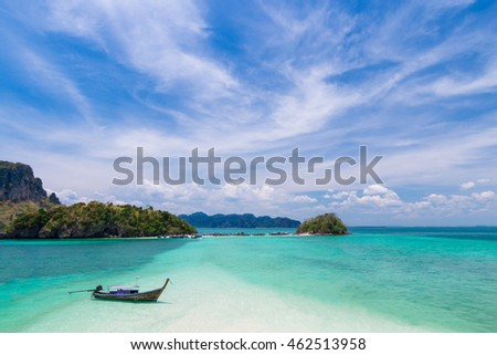 Thai long tail boat on beautiful islands and tombolo
