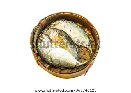 Thai mackerel fish steamed on bamboo basket on white background; Pla-too is name have been called in Thai language.