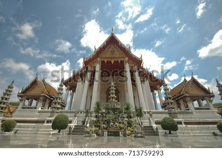 Thai majestic Benjamabopit temple and blue sky