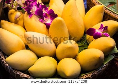 Thai mangoes in basket decorated with orchids at market. - stock photo