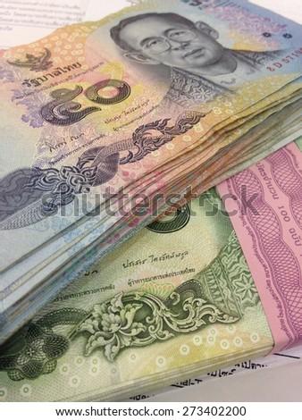 Thai money ,50 baht and 20 baht - stock photo